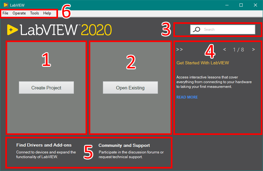 LabVIEW 2020 Getting Started Window Components